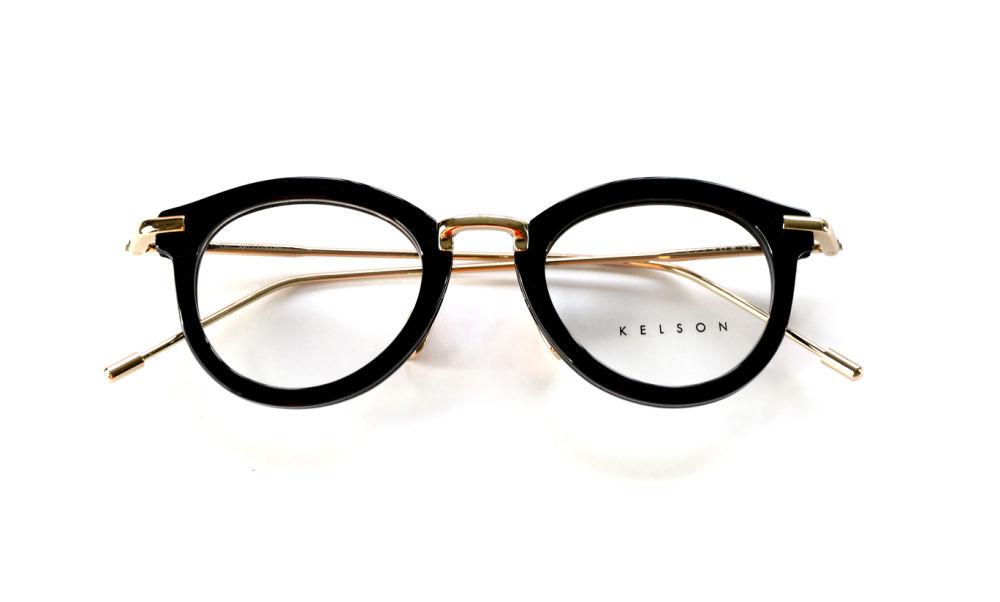 1b55afb476e Kelson Unisex Kanji Black Frame Transparent Lens Round 46mm Glasses ...